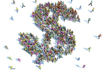 Large group of people gathered together in the shape of a dollar symbol